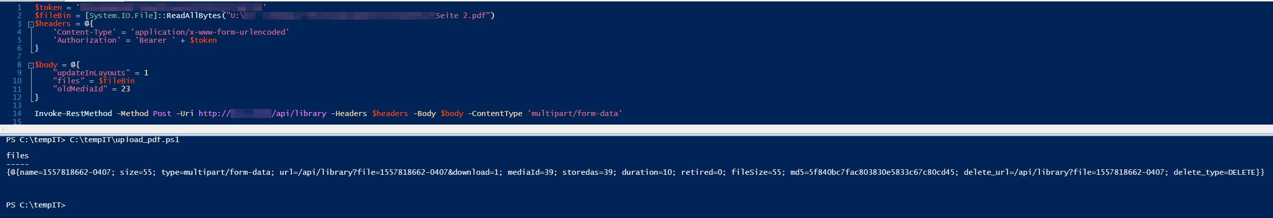 Uploading a pdf via powershell results in some jibberish