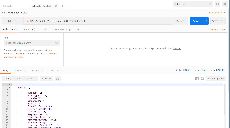 Schedule API return empty object - Dev - Xibo Community