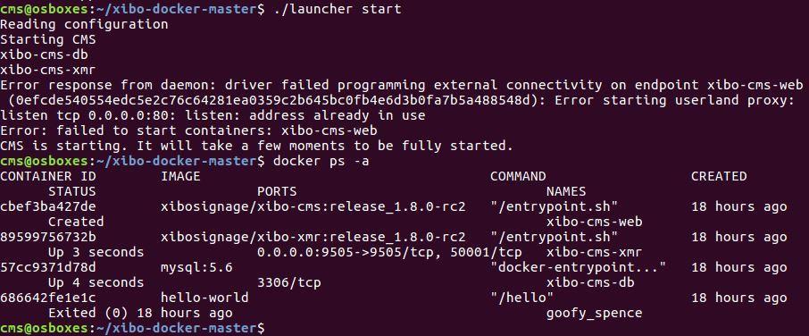 Xibo 1 8 Docker Installation ONLY Apache startsite at