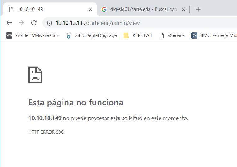 CMS XIBO SERVER, blank screen or 500 error when entering