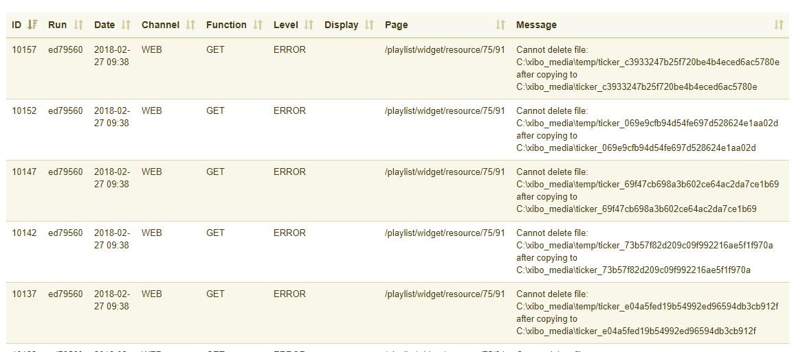 XMDS Error: Cannot delete ticker file - Support - Xibo Community